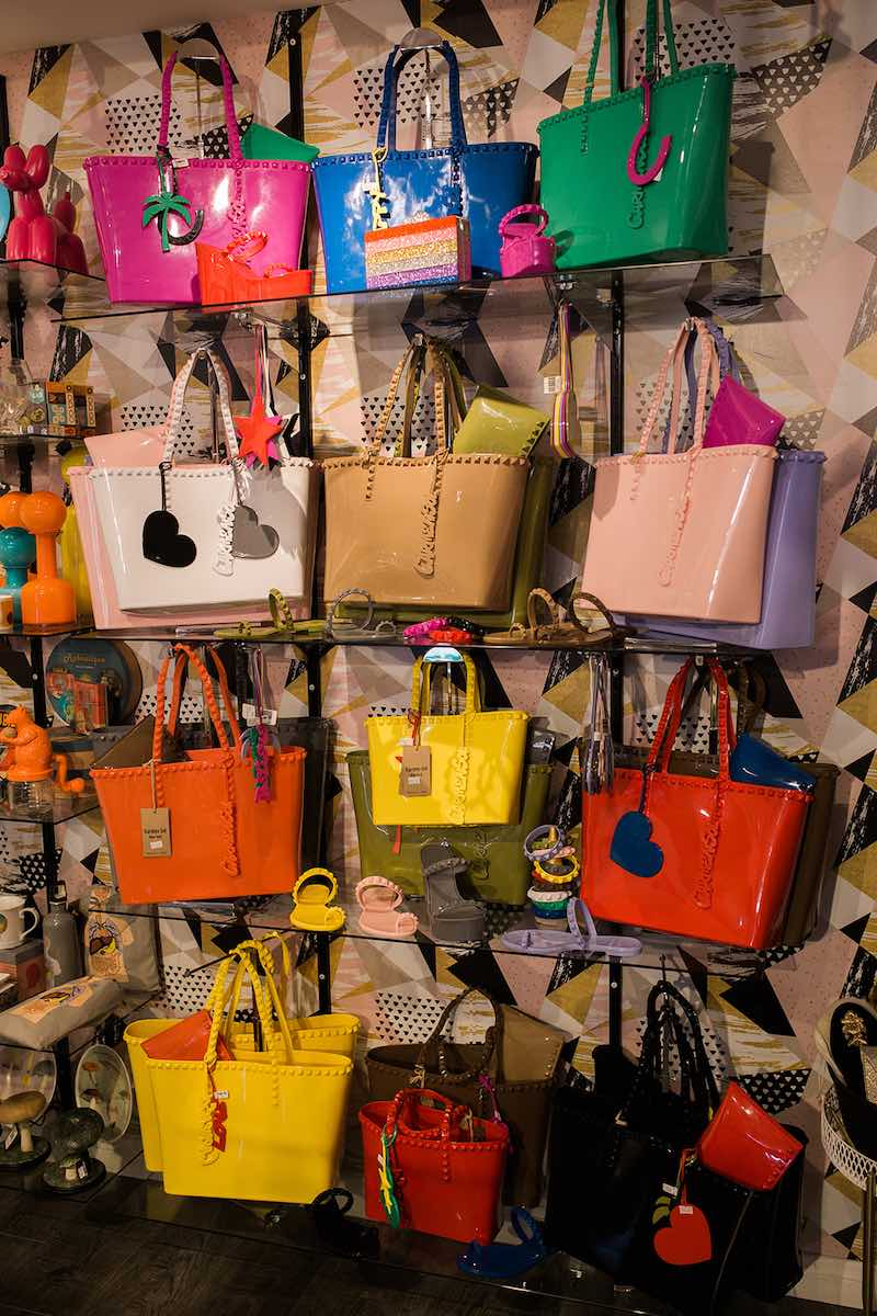 I Heart Costa Mesa: A wall of colorful tote bags and purses at Anthill Fashion Market in Costa Mesa, California. (photo: Brandy Young)