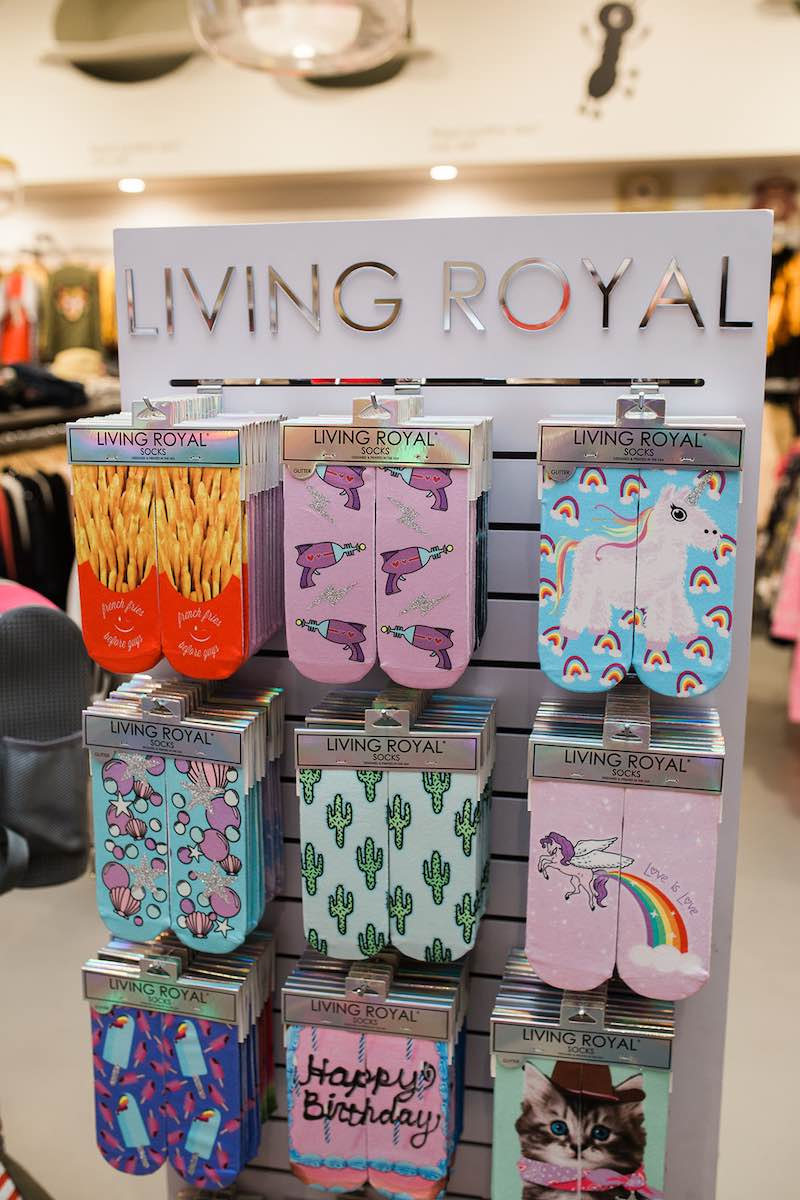 I Heart Costa Mesa: A rack with funny, novelty socks at Anthill Fashion Market in Costa Mesa, California. (photo: Brandy Young)