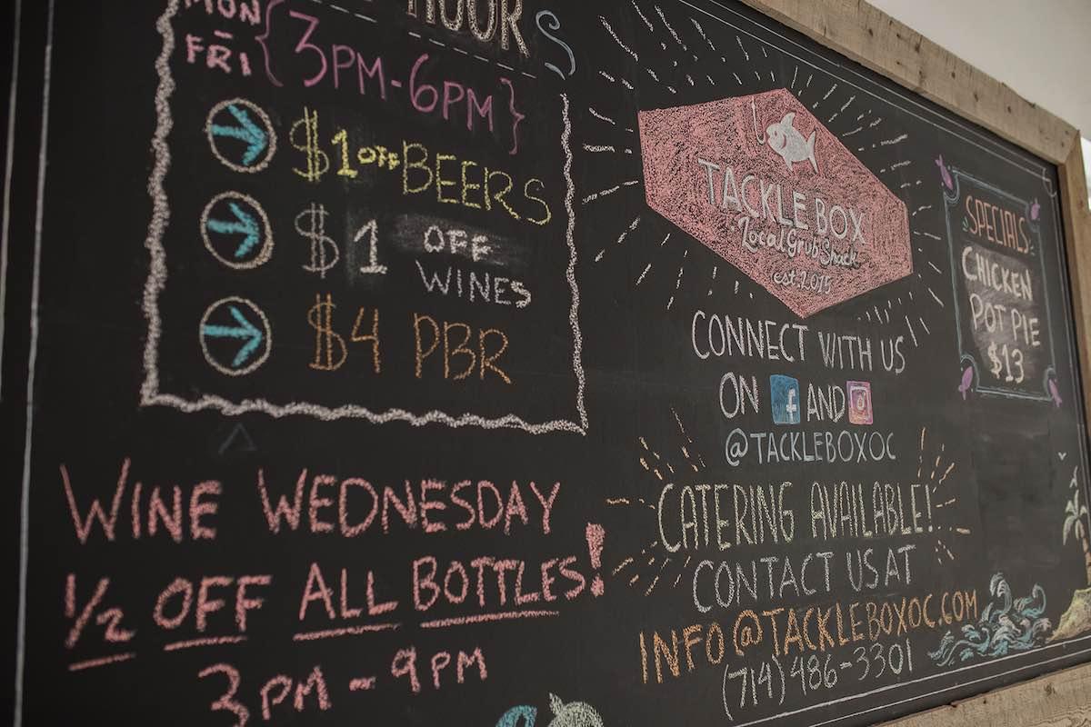 Specials Board at Top Chef Brian Huskey's Tackle Box at SOCO and The OC Mix in Costa Mesa, Orange County, California.